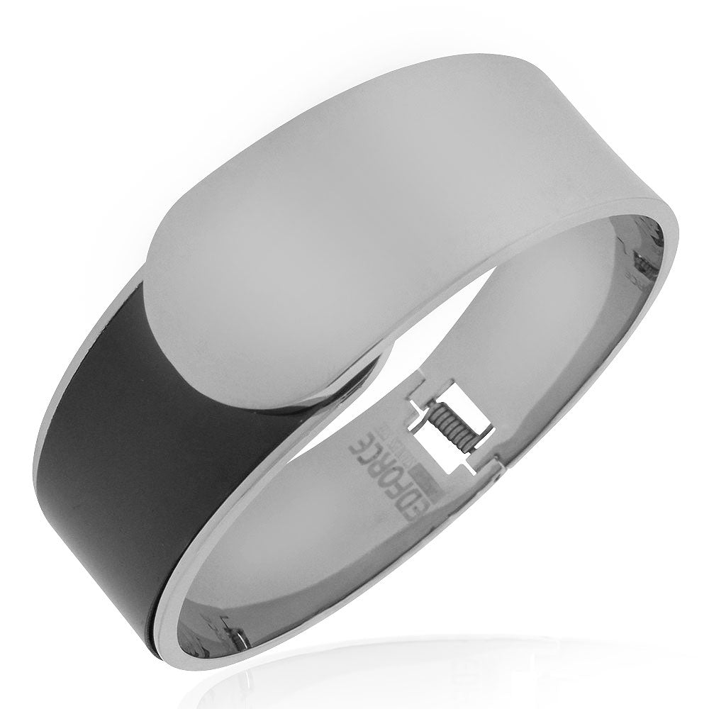 EDFORCE Stainless Steel Silver-Tone Black Large Statement Bracelet Bangle, 7""