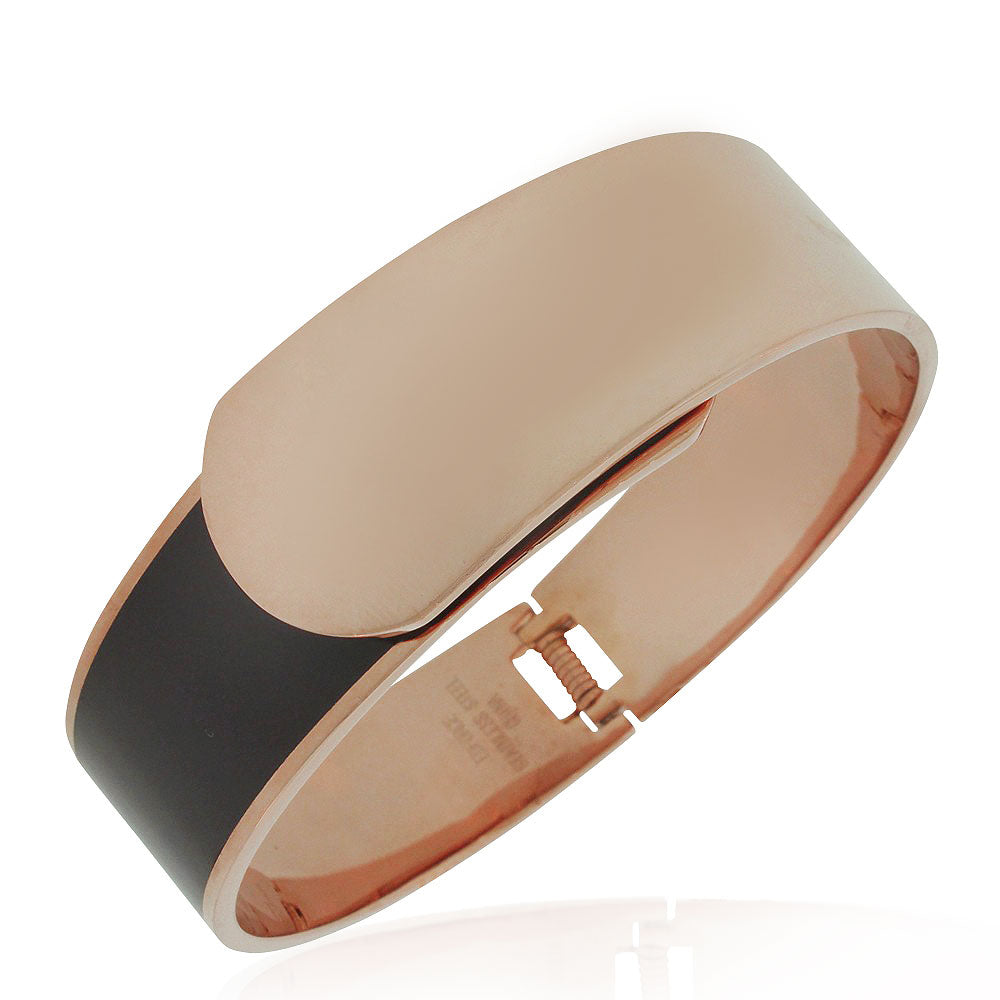 EDFORCE Stainless Steel Rose Gold-Tone Black Large Statement Bracelet Bangle, 7""