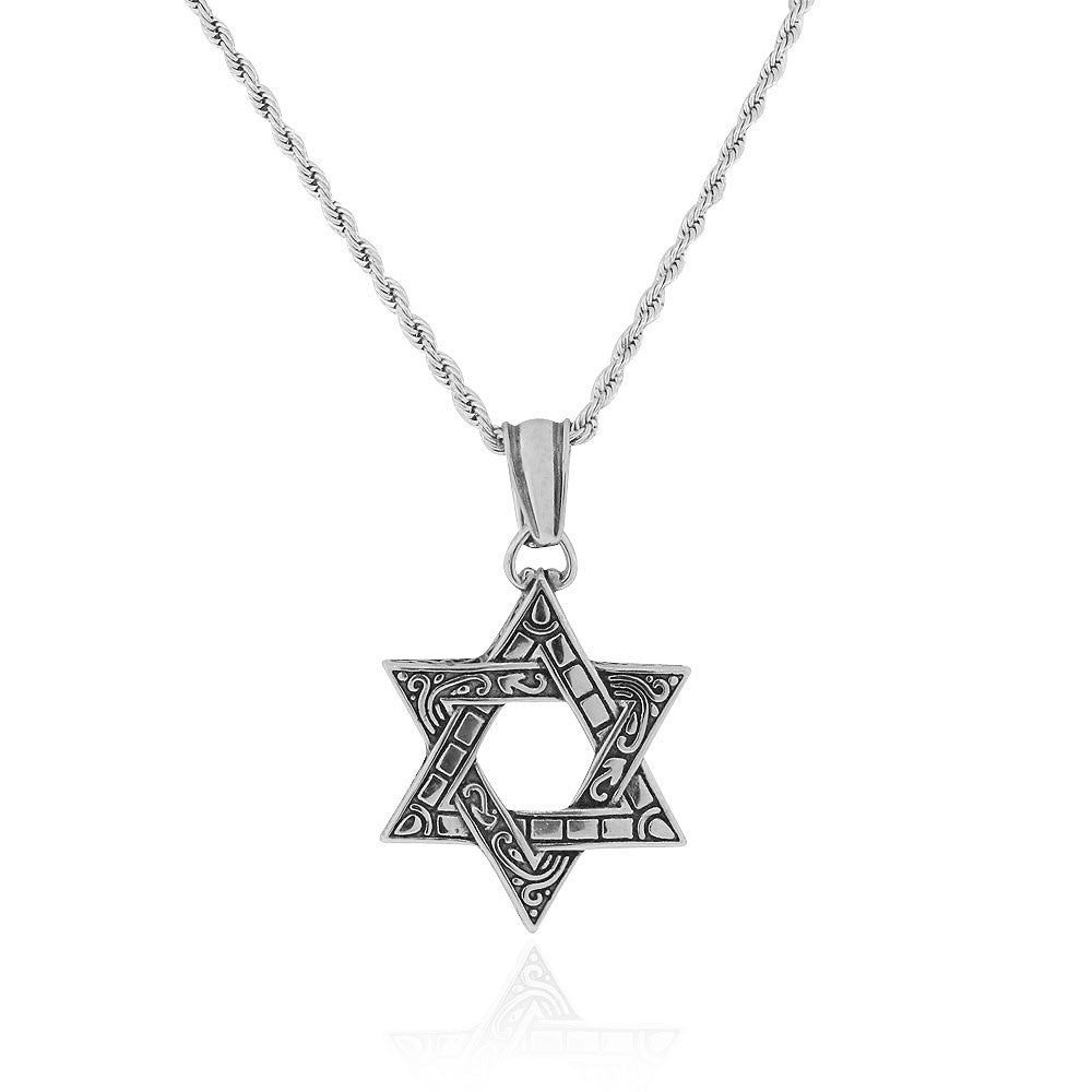 EDFORCE Stainless Steel Silver-Tone Large Statement Jewish Star of David Men's Pendant Necklace, 24""