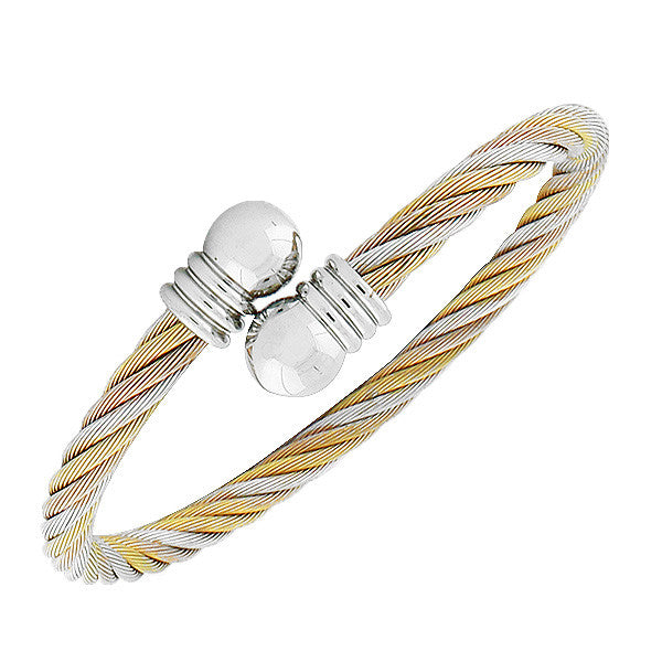 Stainless Steel Multi-Tone Open End Twisted Cable Bangle Bracelet