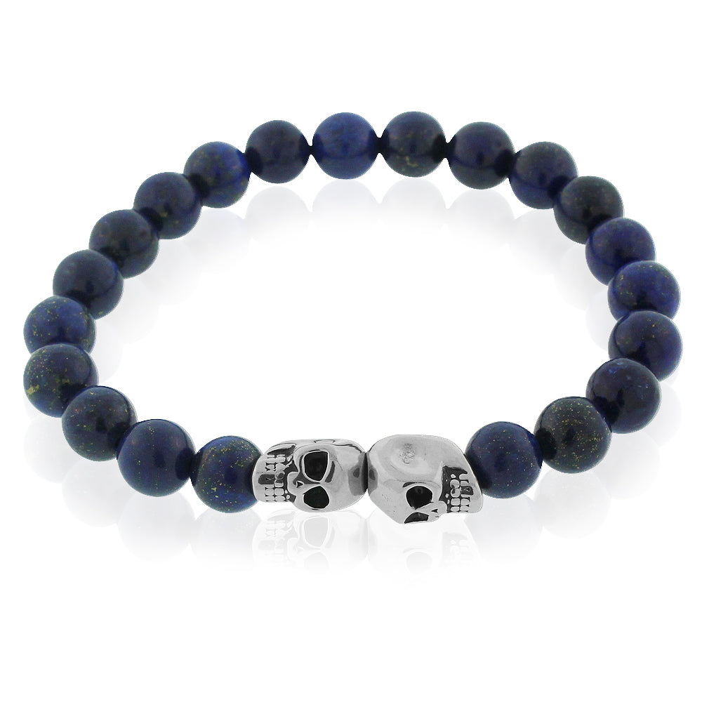 EDFORCE Stainless Steel Blue Silver-Tone Double Skull Beaded Stretch Bracelet, 8""
