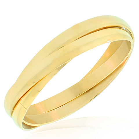 Stainless Steel Yellow Gold-Tone Wide Interlocked Triple Three Bangle Bracelets Set, 8.5""