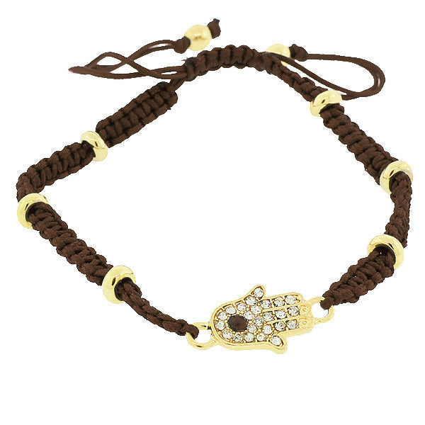 Fashion Alloy Yellow Gold-Tone Brown Cord White CZ Hamsa Evil Eye Adjustable Bracelet