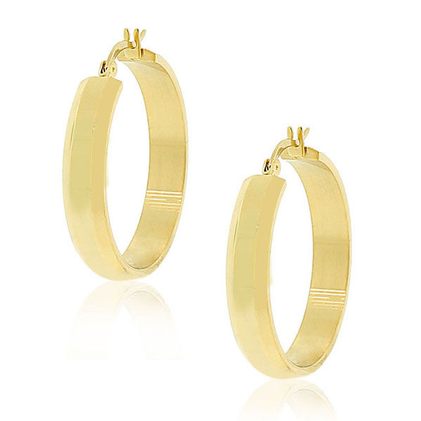 "EDFORCE Stainless Steel Yellow Gold-Tone Classic Polished Hoop Earrings 1.15"" Diameter"
