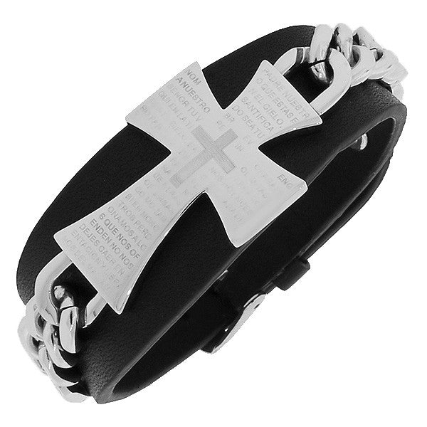 Stainless Steel Silver-Tone Black Leather Religious Cross Lord's Prayer Bracelet