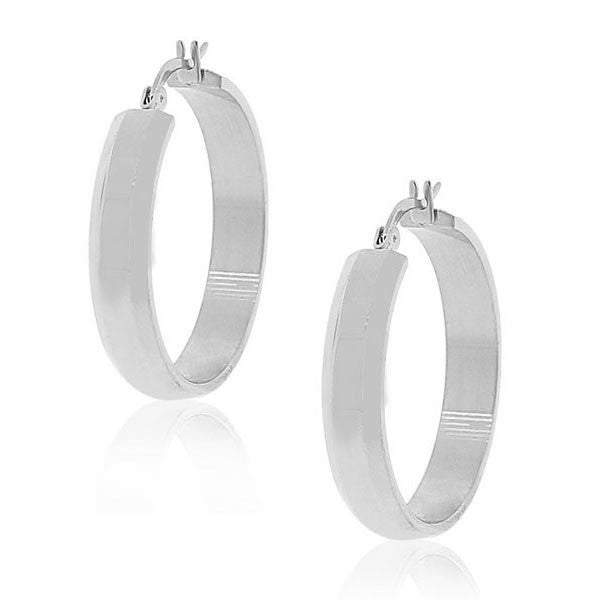 EDFORCE Stainless Steel Silver-Tone Classic Polished Hoop Earrings 1.15in Diameter