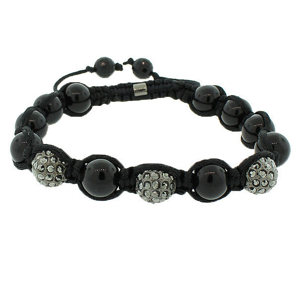 Black White CZ Ball Beaded Adjustable Macrame Bracelet