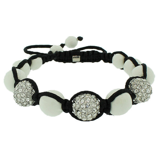 White CZ Ball Black Cord Beaded Adjustable Macrame Bracelet