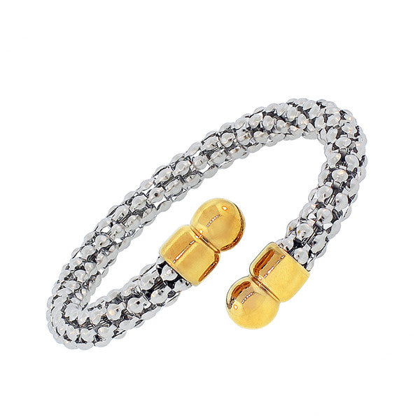 Stainless Steel Two-Tone Open End Bangle Bracelet
