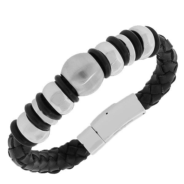 Stainless Steel Silver-Tone Black Leather Braided Men's Bracelet