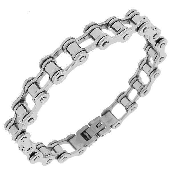 Stainless Steel Silver-Tone Bike Link Chain Men's Bracelet