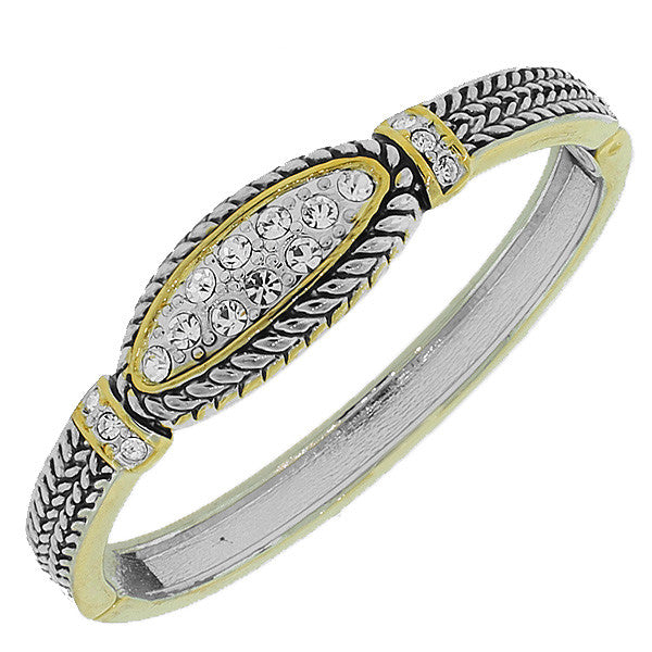 Fashion Alloy Vintage-Look Two-Tone White CZ Bangle Bracelet