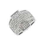 EDFORCE Stainless Steel Silver-Tone Clear CZ Hip-Hop Statement Mens Ring Band - Size 13