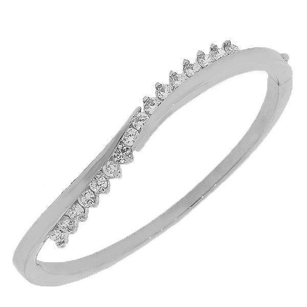 Fashion Alloy Silver-Tone White CZ Swirl Bangle Bracelet