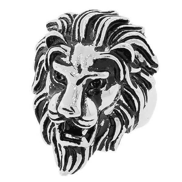 Stainless Steel Silver-Tone Animal Lion Head Statement Mens Ring Band - Size 13