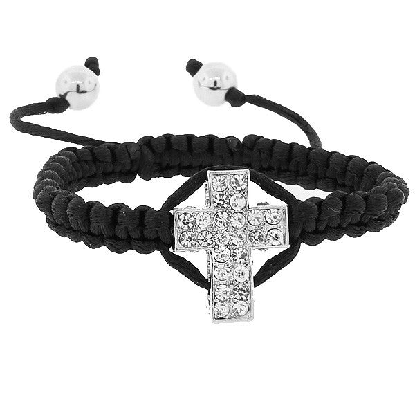 Fashion Alloy Black Cord White CZ Religious Cross Adjustable Macrame Bracelet