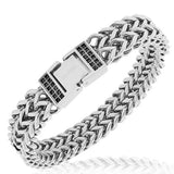 Stainless Steel Silver-Tone White CZ Double Wheat Chain Men's Bracelet