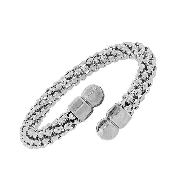 Stainless Steel Silver-Tone Open End Bangle Bracelet