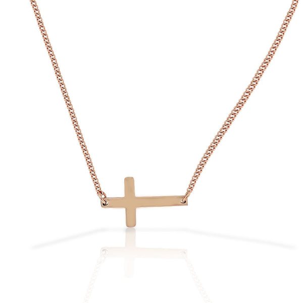Stainless Steel Rose Gold-Tone Sideways Cross Pendant Necklace