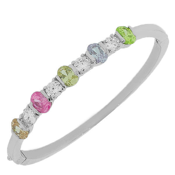 Fashion Alloy Silver-Tone White Multicolor CZ Bangle Bracelet