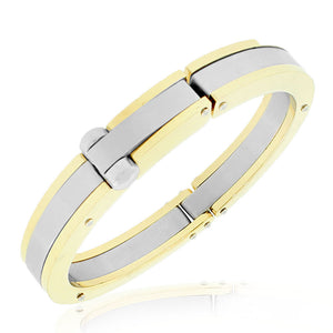 Stainless Steel Two-Tone Heavy Large Mens Handcuff Bracelet