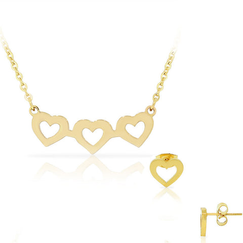EDFORCE Stainless Steel Yellow Gold-Tone Love Heart Chain Necklace Stud Earrings Set