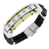 Stainless Steel Black Leather Two-Tone White CZ Men's Bracelet