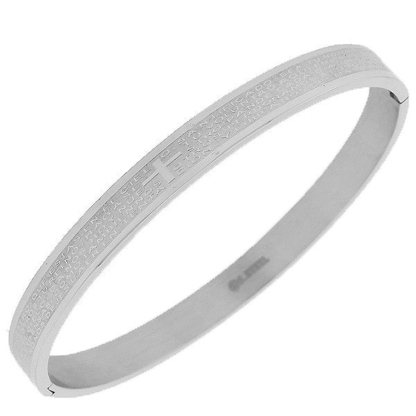 Stainless Steel Silver-Tone Cross Lord's Our Father Prayer in Spanish Religious Cross Bangle Bracelet