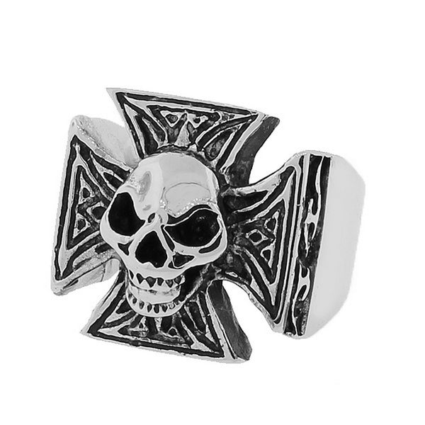 Stainless Steel Silver-Tone Gothic Cross Skull Statement Mens Ring Band - Size 13