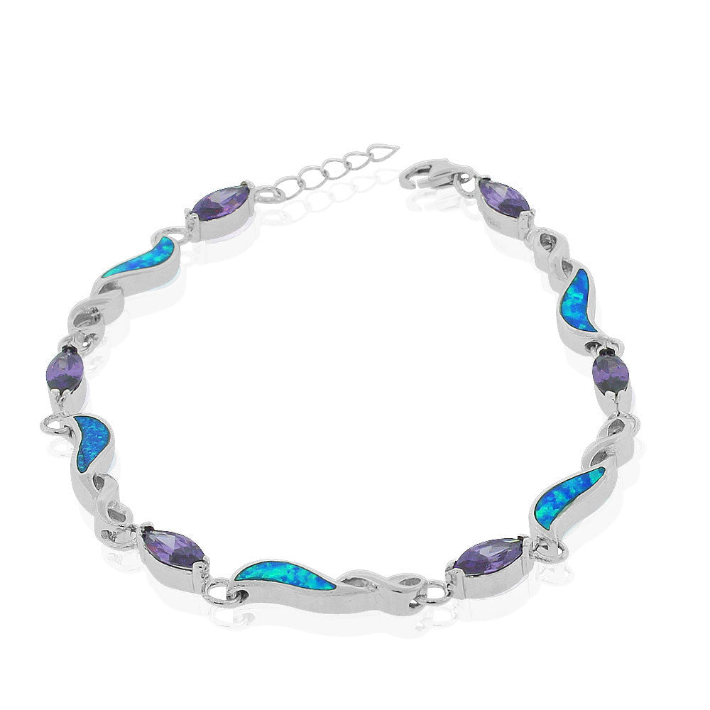 925 Sterling Silver Simulated Blue Opal Purple Amethyst-Tone Marquise-Shape CZ Infinity Tennis Bracelet, 7""