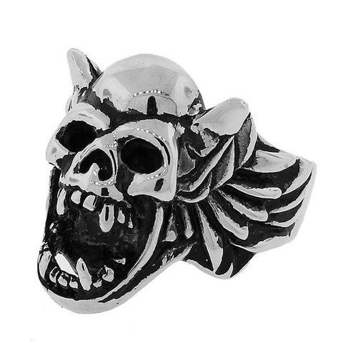 Stainless Steel Silver-Tone Gothic Skull Harpy Statement Mens Ring Band - Size 13