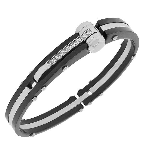 Stainless Steel Black Silver-Tone Handcuff White CZ Men's Bracelet