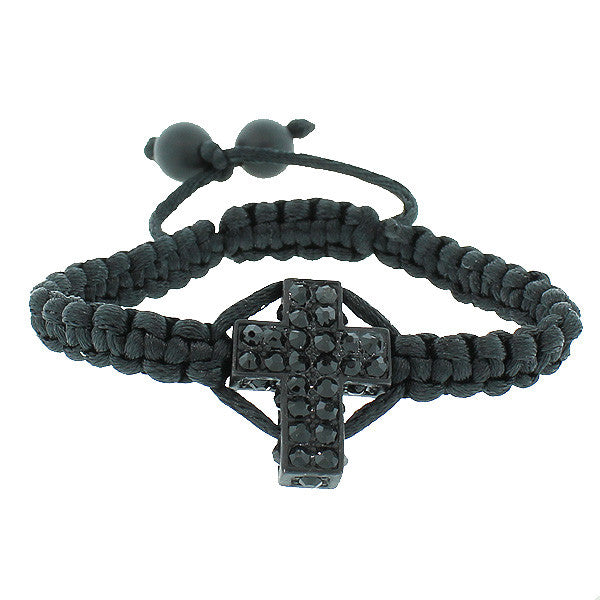 Fashion Alloy Black Cord CZ Religious Cross Adjustable Macrame Bracelet