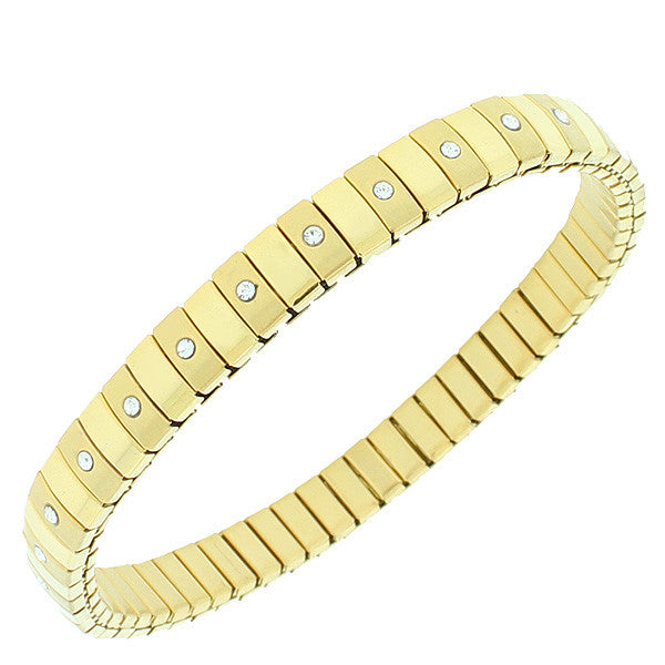 Stainless Steel White CZ Yellow Gold-Tone Stretch Bracelet