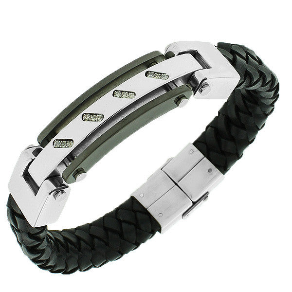 Stainless Steel Black Leather Silver-Tone White CZ Men's Bracelet