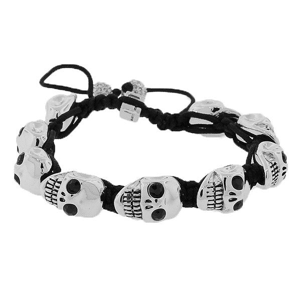 Fashion Alloy Silver-Tone Black White CZ Skull Beaded Adjustable Men's Bracelet