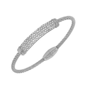 Silver-Tone White CZ Twisted Cable Bangle Bracelet