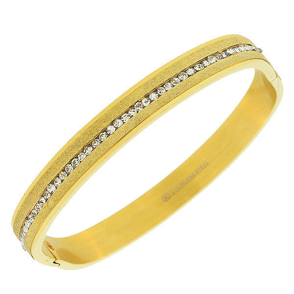 Stainless Steel Yellow Gold-Tone Glitter White CZ Bangle Bracelet