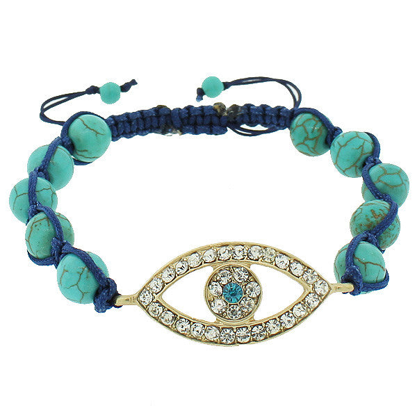 Fashion Alloy Simulated Green Yellow Gold-Tone Evil Eye White Blue CZ Bracelet