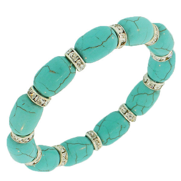 Fashion Alloy Simulated Green White CZ Stretch Beaded Bracelet