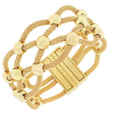 Fashion Alloy Yellow Gold-Tone Mesh Bracelet