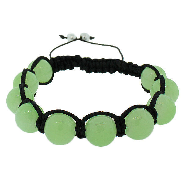 Green Simulated Jade Ball Black Cord Adjustable Beaded Macrame Bracelet