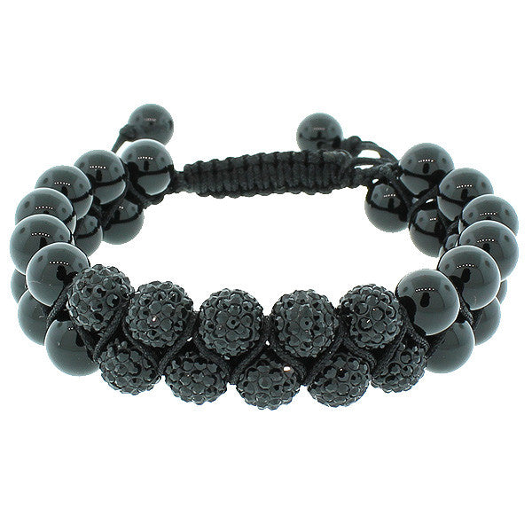 Black CZ Ball Double Row Beaded Adjustable Macrame Bracelet