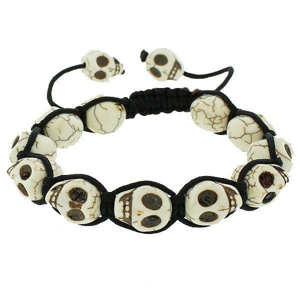 White Brown Skull Black Cord Macrame Beaded Adjustable Men's Bracelet