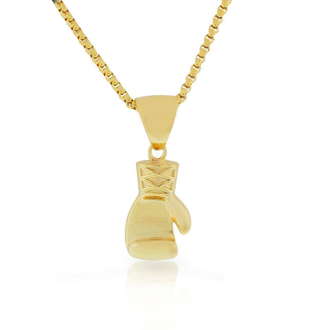 Stainless Steel Yellow Gold-Tone Boxing Glove Mens Pendant Necklace, 30""