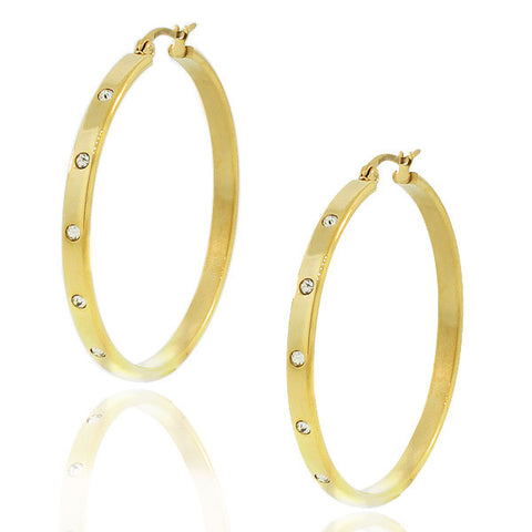 Stainless Steel Yellow Gold-Tone White CZ Round Hoop Earrings