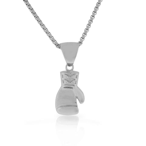 Stainless Steel Silver-Tone Boxing Glove Mens Pendant Necklace, 30""