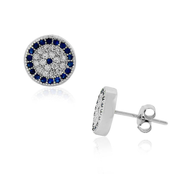 White Blue Protection Earrings