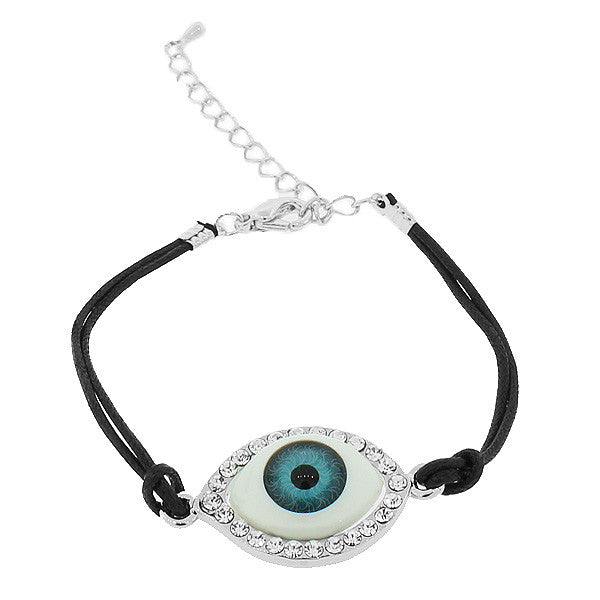 Fashion Alloy Silver-Tone White CZ Evil Eye Black Cord Adjustable Bracelet