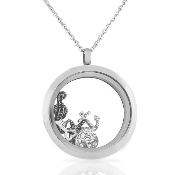 EDFORCE Stainless Steel Silver-Tone Floating Charms Beach-Theme Glass Locket Pendant Necklace - Charms Included
